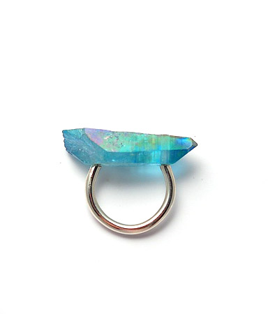 aqua aura crystal [crystal ring] : stone&honey